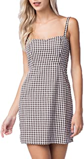 Women's Gingham Apron Straight Dress with Spaghetti Straps in Brown White Color
