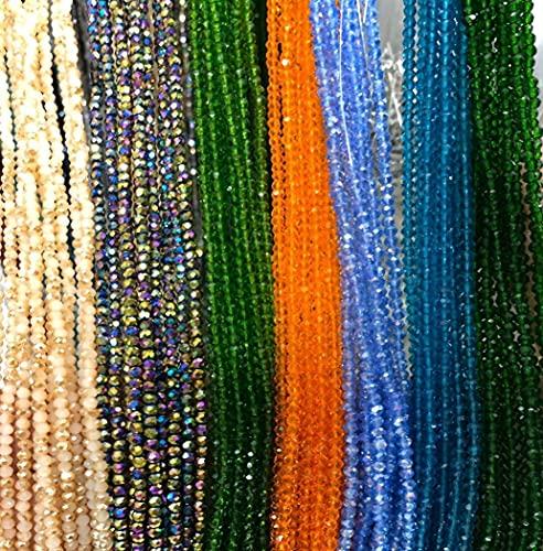 145 cuentas de cristal con alambre de cristal redondas, bañadas en colores, encantadoras, pulseras, collares, bisutería (celeste)