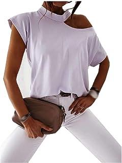 neveraway Women's One Shoulder Blouse Cotton Short Sleeve Summer Trendy Tees Top