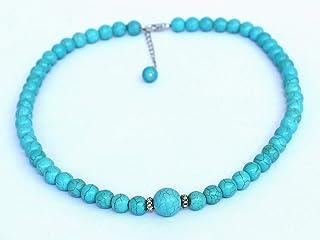 collana, collana turchese con perline in pietra turchese, da 8-12 mm