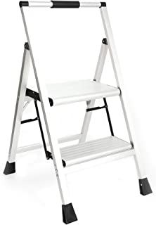 Topfun Lightweight Aluminum 2 Step Ladder Folding Step Stool Non-Slip Wide Platform Eva Handle Ultra-Light Sturdy Ladder 225lbs Capacity Fully Assembled Multi-Use for Household and Office