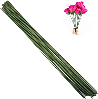 Arlai Pack of 50, Diameter 2mm Dark Green Paper Wrapped Floral stem Wire 16 Inch Floral Stem Wire - DIY Bouquet Stem Wrapping and Crafts