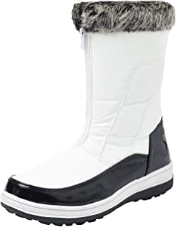 Women's Leather Short Snow Boots Zipped Fur-Lined Winter Snow Boots