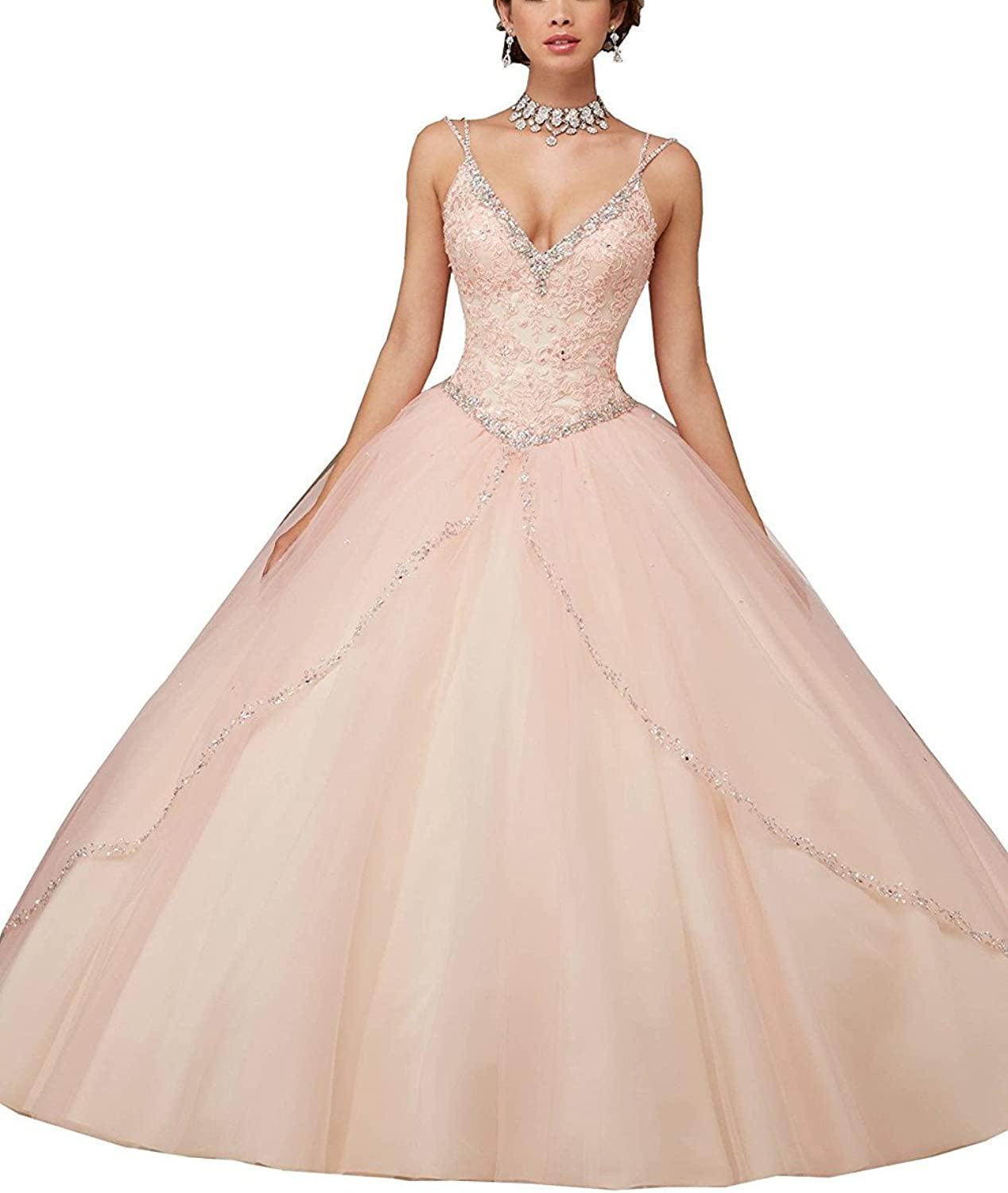 Ruisha Women Sexy Deep v Neck Spaghetti Straps Sweet 16 Ball Gowns Lace Beaded Crystal Quinceanera Dresses RS0028