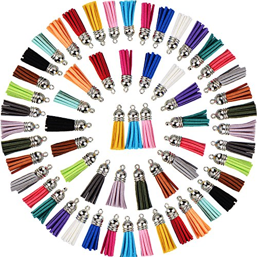 Satinior 100 Pieces 40 mm Leather Tassel Pendants Faux Suede Tassel with Caps for Key Chain Straps DIY Accessories, 20 Colors