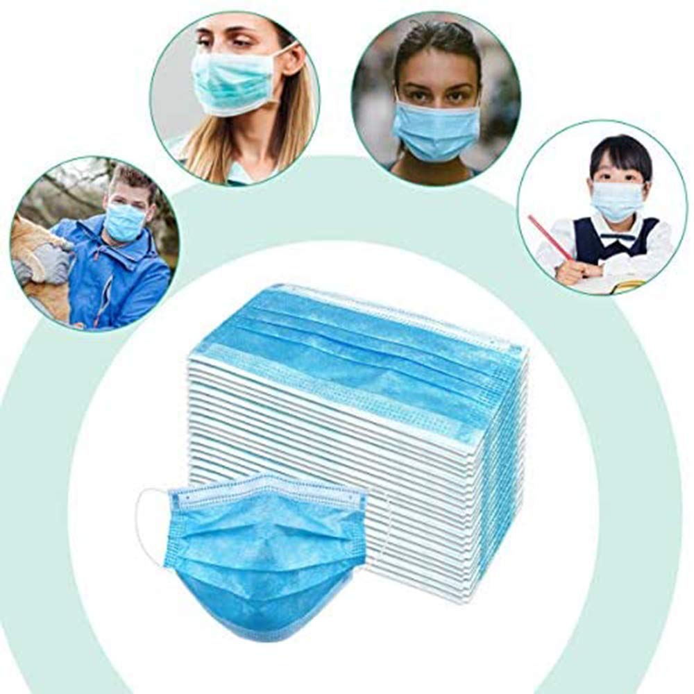 100pcs Adult Multicolor Disposable Face Masks with Elastic Earloops 3ply Non-woven Masks Breathable Colorful