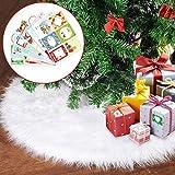 Joyjoz Gonna per Albero di Natale, Gonna per Albero di Natale Bianco (80 cm) con Adesivi Regalo di Natale 48 Pezzi, Pelliccia Sintetica di Lusso per Decorazioni Natalizie Ornamenti Natalizi