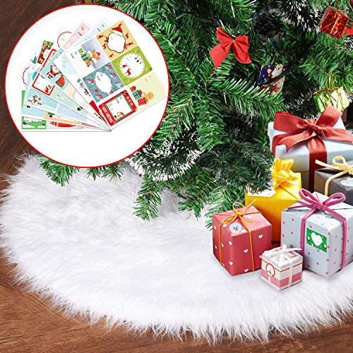 Joyjoz Falda del árbol de Navidad, Falda Blanca del árbol de Navidad (78cm) con 48pcs Pegatinas, Piel sintética de Lujo para Decoraciones navideñas, Adornos navideños