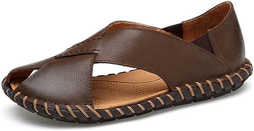 Fuxitoggo 2018 Sandalen Herren Echtes Rindsleder Strand Hausschuhe Casual Rutschfeste Handarbeit Sohle Sandalen Schuhe (Farbe   braun, Größe   40 EU) (Farbe   Dark BRN, Größe   41 EU)