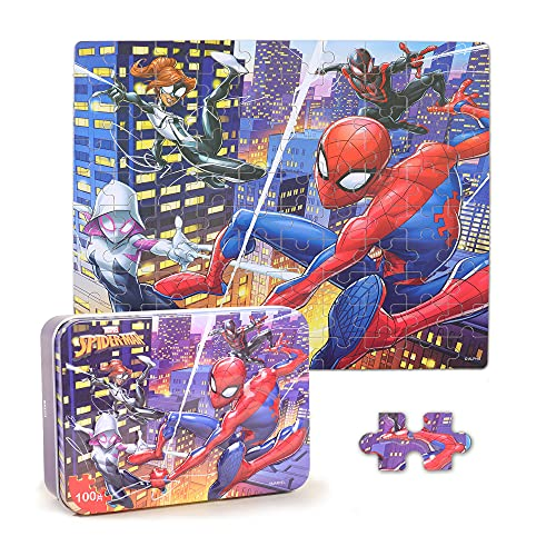 LELEMON 100 Pieces Spiderman Jigsaw Puzzles in a Metal Box for Kids Age for 4-12 Boys Girls Toy Puzzles Children Learning Educational Puzzles Toys