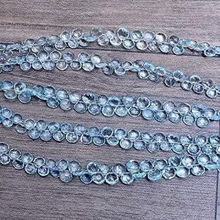 AAA + cuentas de briolette de corazón de piedras preciosas de aguamarina de 5 mm a 6 mm, brioletas de aguamarina | Cuentas...