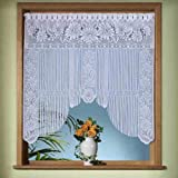 Gardinen, Vorhang, hochwertiger Jacquard-Fadenstore als Fensterbild mit Stangendurchzug, Farbe Weiß, Höhe 105cm x Breite 105cm für Fensterbreite 85-100cm
