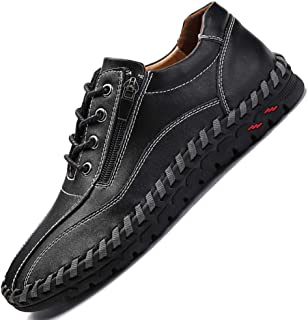 Men's Handmade Zipper Casual Leather Work Driving Non-Slip Slip-on Loafers Adjustable Shoes