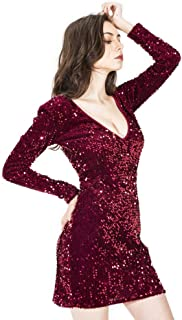 Wraith of East Women's Sequin Glitter Sexy Deep V-Neck Mini Dress Bodycon Club Wear Evening Party Cocktail Gown