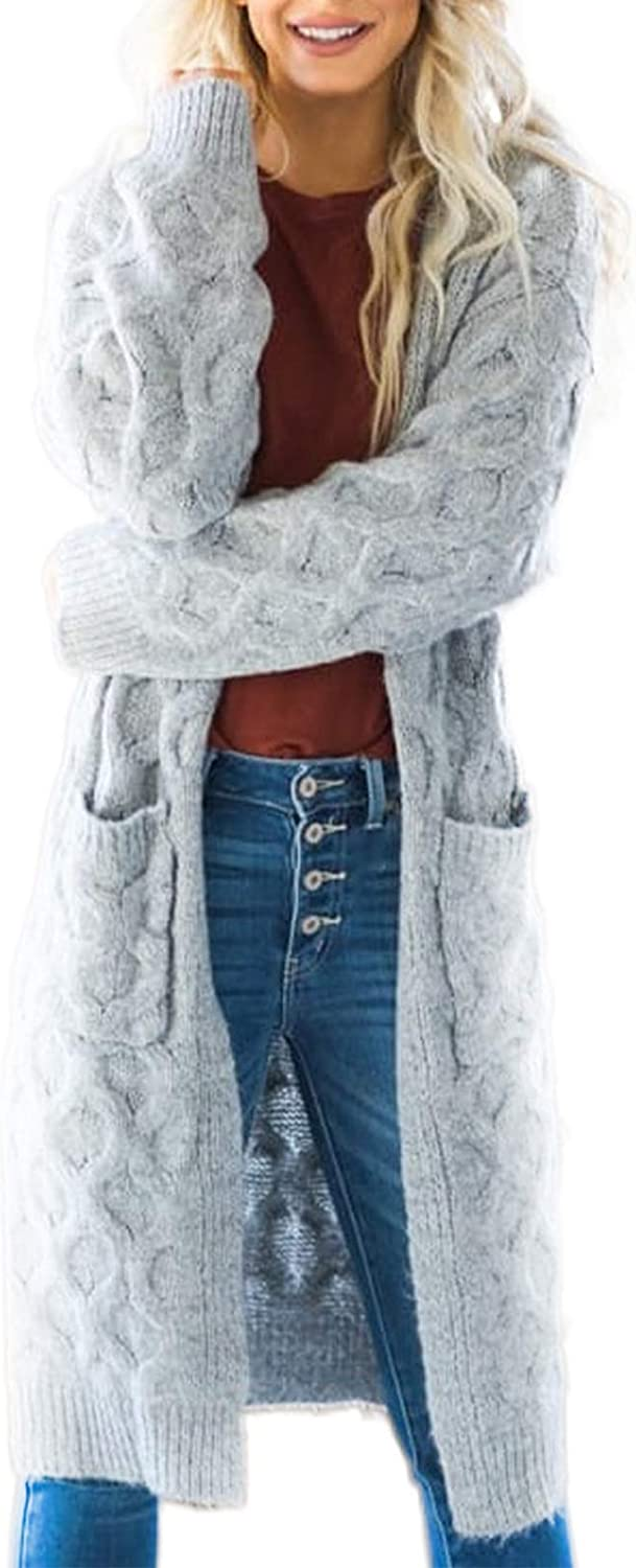 Sidefeel Women Open Front Long Sleeve Cable Knit Long Cardigan Sweater Coat
