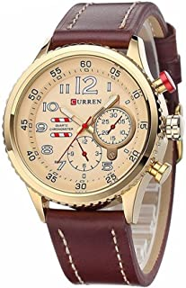 Curren Men's Yellow Dile Leather Strap Watch 8179