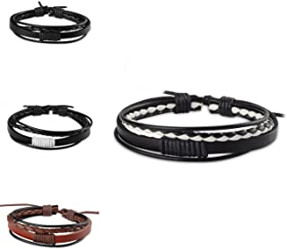 Zodaca Handcraft Leather Wrap Braided Bracelet Wristband Unisex for Men & Women