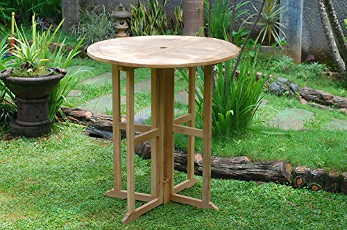 """Windsor's Premium Grade A Teak Bimini 39"""" Round Dropleaf Counter Table,Use with 1 Leaf Up or 2, Makes 2 Different Tables, Counter Height 5"""" Lower Than Bar. World's Best Outdoor Furniture! Assembled"""