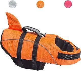 Kimol XS Dog Life Jacket Shark Dog Swimming Vest, Grey