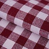 Hans-Textil-Shop Tela de cuadros Vichy a cuadros, 1 x 1 cm, algodón, diseño a cuadros, color rojo...
