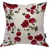 QDAS Rose Kissenbezug Floral Aquarell Garten Blumen Blätter für Hochzeit Liebe Kissenbezug für Zuhause Sofa quadratisch Grün Weiß