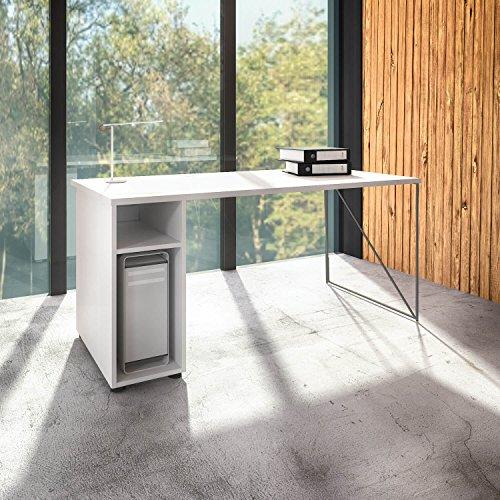 Preisvergleich Produktbild Weber Büro Profi Schreibtisch AIR mit Rechnerfach / Computerfach Links Bürotisch Computertisch,  Gestellfarbe:Weiß