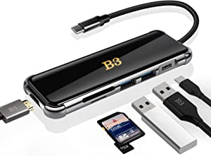 USB C Hub HDMI Adapter for MacBook Pro / Air XPS and Other Type C Devices,B3Bigthree USBC Digital AV Multiport (6 in 1 Dongle with ports of typec 2 USB 3.0 4k HDMI SD/TF Card Reader ) Glass Panel Dock
