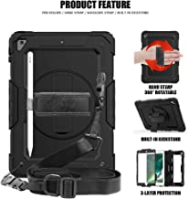 New iPad 9.7 Case, [Upgraded] Duty Protective 360 Rotatable Kickstand [Hand Strap] [Shoulder Strap] 3 Layer Hybrid Heavy Duty Shockproof case for iPad 9.7 5th/6th Gen air 2 pro 9.7 (1-All Black)