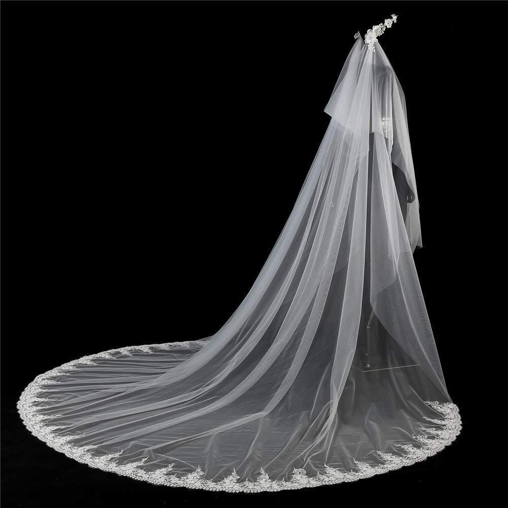 YXYY Bridal Veils Cathedral 5M Length Wedding Tulle Veils Lace Applique Edge for Brides with Crystal Comb and Headband Hair Accessories (Ivory) 93