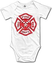 Lovely Baby for 6-24 Months Infant Firefighter Rescue Symbol Short Sleeve White
