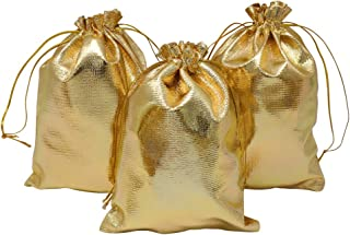 HRX Package Gold Gift Bags Drawstring 100pcs, 5 x 7 inches Jewelry Pouches Party Favor Goody Bags for Wedding Birthday Christmas Candy Bar