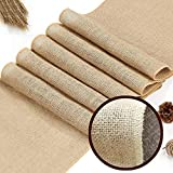 XINGMAO 60S Jute Burlap 14x108 Table Runner Natural Table Vintage Table Runner with Finised Edge for Banquet Wedding Party Event Decoration Farmstyle Table Runner