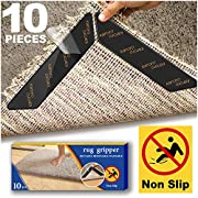 Rug Gripper, 10pcs Anti Curling Rug Gripper for Wooden Floors, Large Size Carpet Sticker Anti Slip Rug Underlay to keep your Rug in Places & Makes Corners Flat, Reusable Rug Tape, Non Slip Rug Grip