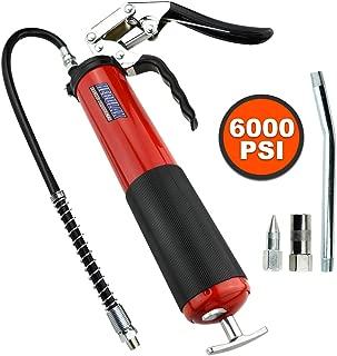 Bravex Grease Gun, Heavy Duty Pistol Grip Grease Gun Set 14oz with 18 Inch Flex Hose,6000 PSI Red