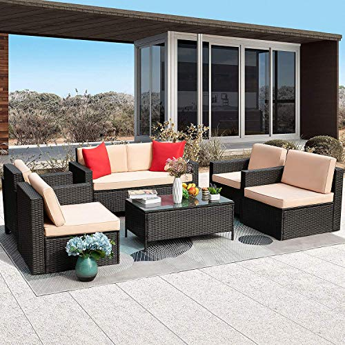 GUNJI 6 Pieces Patio Furniture Sets Outdoor Rattan Conversation Set Patio Garden Sectional Sofa Sets with Glass Table and Cushions (Beige)