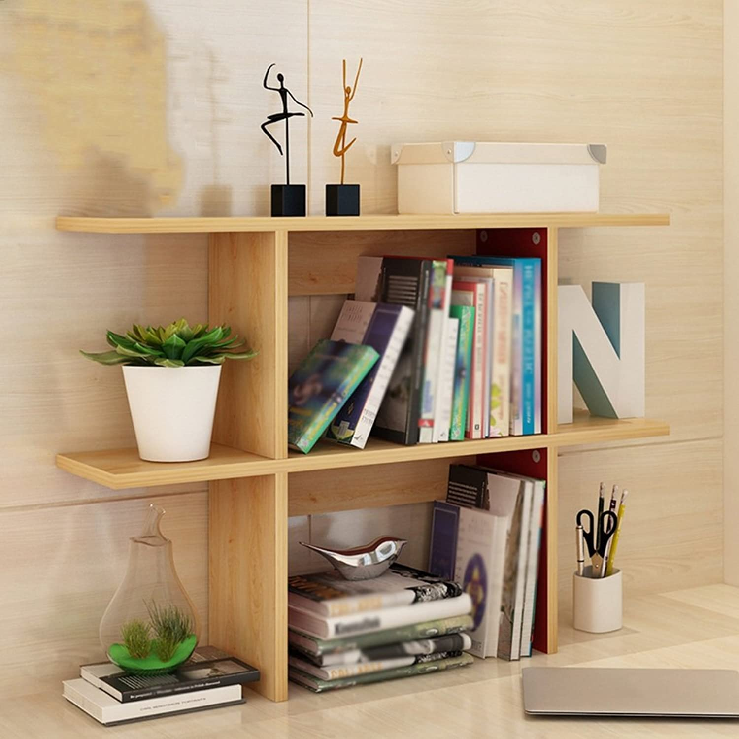 QIANGDA Bookshelf Bookrack Desktop Storage Rack Commodity Shelf Unit Room Divider Shelf, 3 Sizes Optional (Size   90 x 20 x 63cm)
