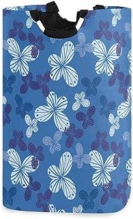 Mnsruu Panier à linge pliable avec poignées Motif papillon Bleu