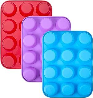 WARMWIND Silicone Muffin Pan, Non-Stick Cupcake Baking Mold, BPA Free Bakeware Tray, 3-Pack Baking Tray Mold, Dishwasher Safe (Red, Blue, Purple)
