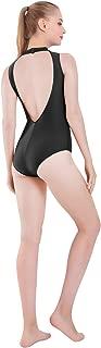 Womens Sleeveless Mock-Turtleneck Neck Open Back Dance Ballet Leotard Bodysuit