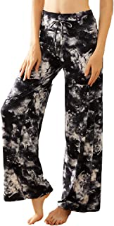 ZOOSIXX Buttery Soft Pajama Pants for Women - Floral Print Drawstring Casual Palazzo Sweatpants Wide Leg for Summer