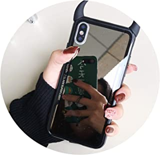 Luxury Mirror Phone Case for iPhone 7 6 6s 5 8 Plus Cute 3D Devil Horn Cover for iPhone X XS Max XR Hard Acrylic Back Case Coque,A1,for iPhone X XS
