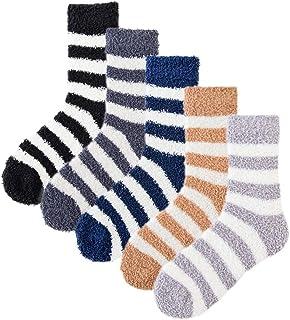 ANGUYA, 5 o 6 pares de calcetines suaves para hombre, calcetines térmicos de alta elasticidad, calcetines gruesos para la cama del hogar para el invierno