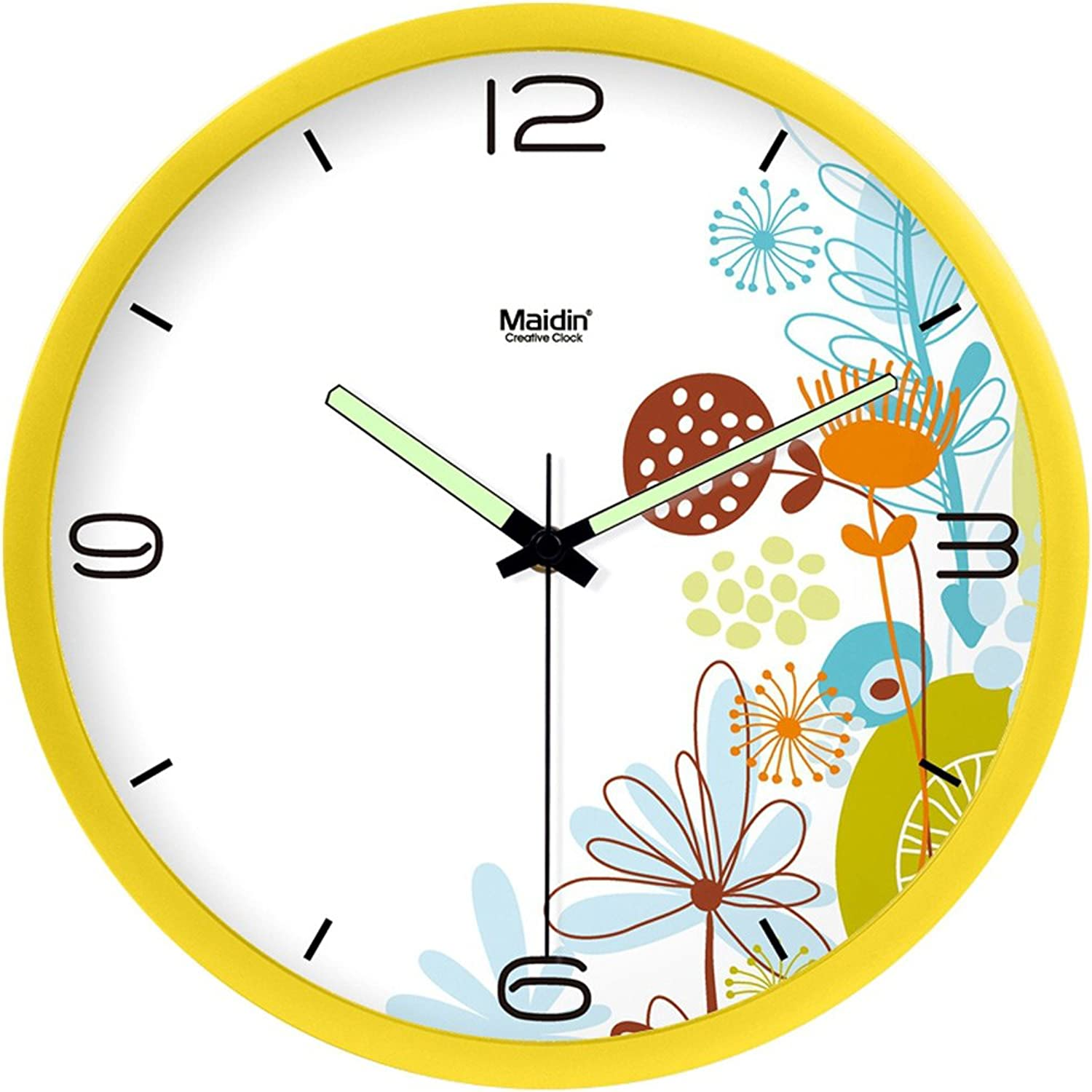 Creative Luminous Living Room Bedroom Silent Resin Round Wall Clock (color   S, Size   10 inches)