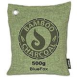 BlueFox Lufterfrischer aus Bambus Aktivkohle - 500g - Geruchsentferner - Luftreiniger - Entfeuchter - Für EIN sauberes Auto - Deutsche Marke - Lufterfrischer - Grün