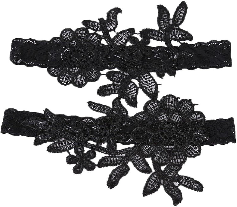 IVERIRMIN Wedding Garter Belt, Women's Black Lace Bridal Leg Garter Set