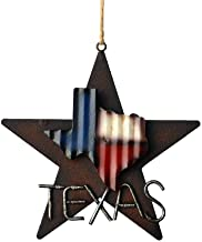 Western Rustic Lone Star 3-D Texas Map Christmas Ornament - Metal / Tin - or Tree or Wall Hanging