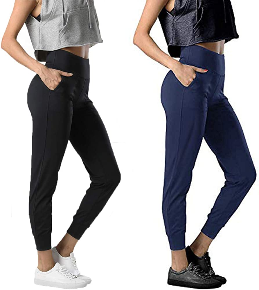 2 Packs Girls Joggers Pants for Women with Pockets High Waist Fall Workout Sweatpants Running Lounge Pants Tapered Trackpants