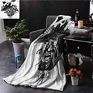EDZEL Bedroom Warm Blanket Black and White Samurai Warrior All Season for Couch Or Bed 84x70 Inch