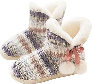 GILKUO Slipper Boots Women Ladies Memory Foam Fur Lined Warm Winter House Shoes Non Slip