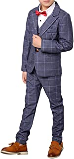 YUFAN Boys Plaid Gray Blue Red Suit Set with Grid 3 Pieces Jacket Vest Pants Set